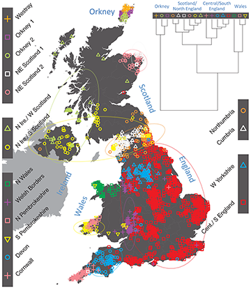 Map Of England Showing Yorkshire.Population Genetics People Of The British Isles